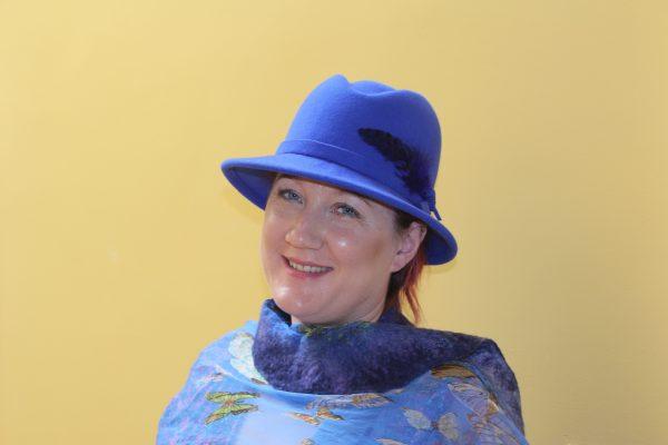 Royal blue wool felt fedora with feathers
