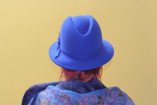 Royal blue stylish wool fedora