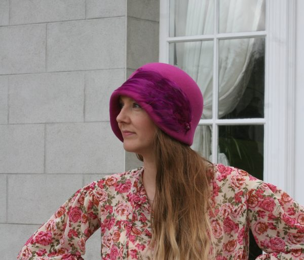 Cerise wool felt cloche hat with feather pad