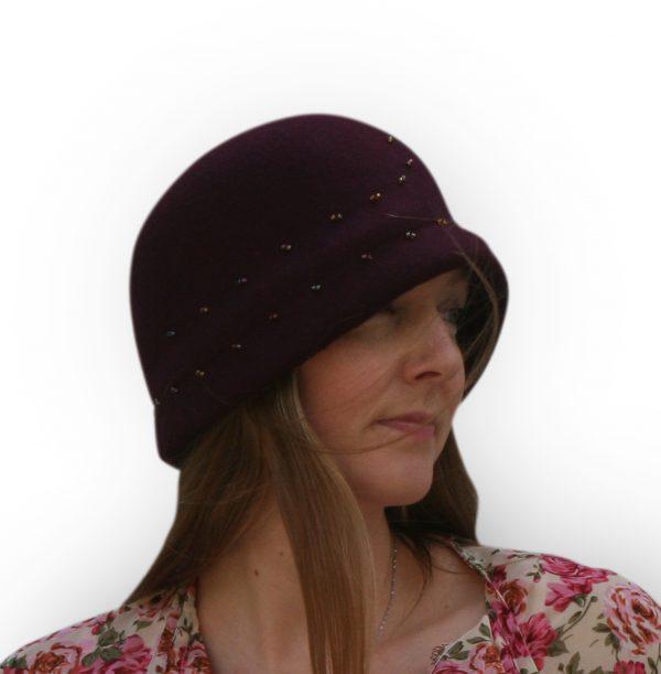 Wine cloche felt hat with ead design